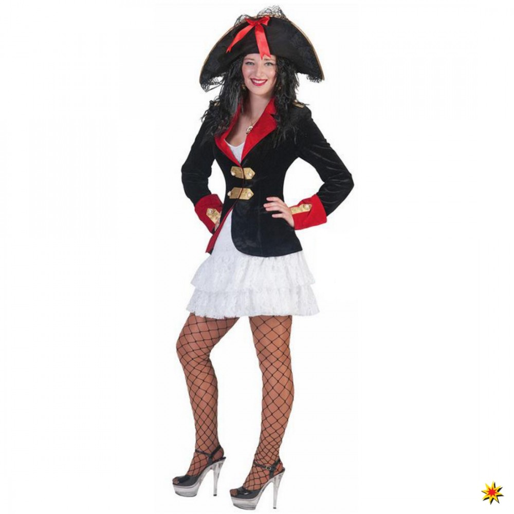 Kostüm Piratin Kleid Jacke Seeräuberin Faschingskostüm Karneval Seefahrt Mottoparty