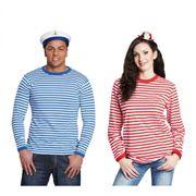 Ringelshirt langarm blau-weiß gestreift Pullover Oberteil Shirt Karneval