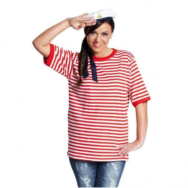 Ringelshirt Rot Weiß T-Shirt Fasching Ringelware