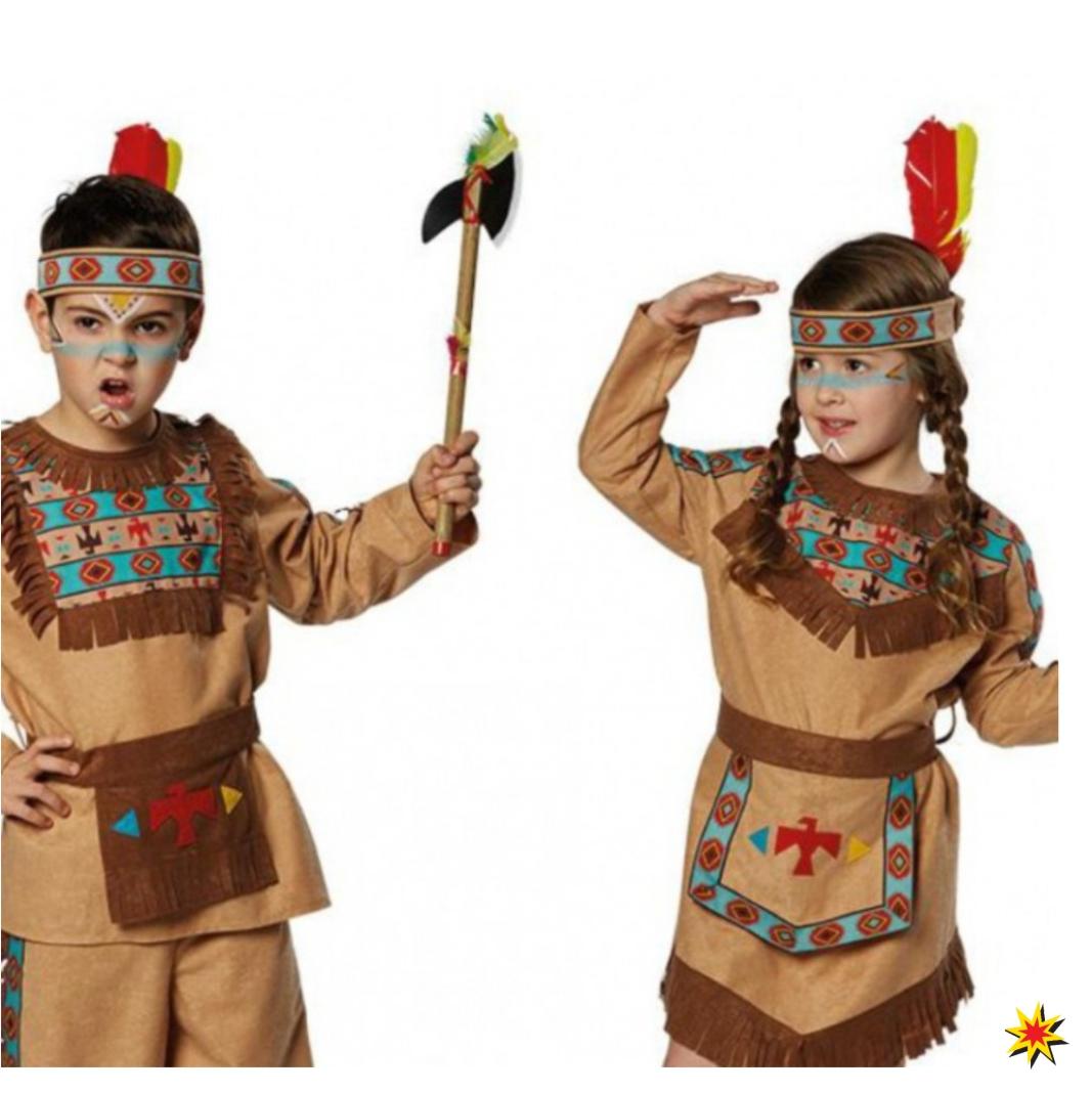 Indianer Stirnband mit Feder für Kinder türkis-braun Indianerkostüm Kinderfasching Karneval Kindergeburtstag Mottoparty