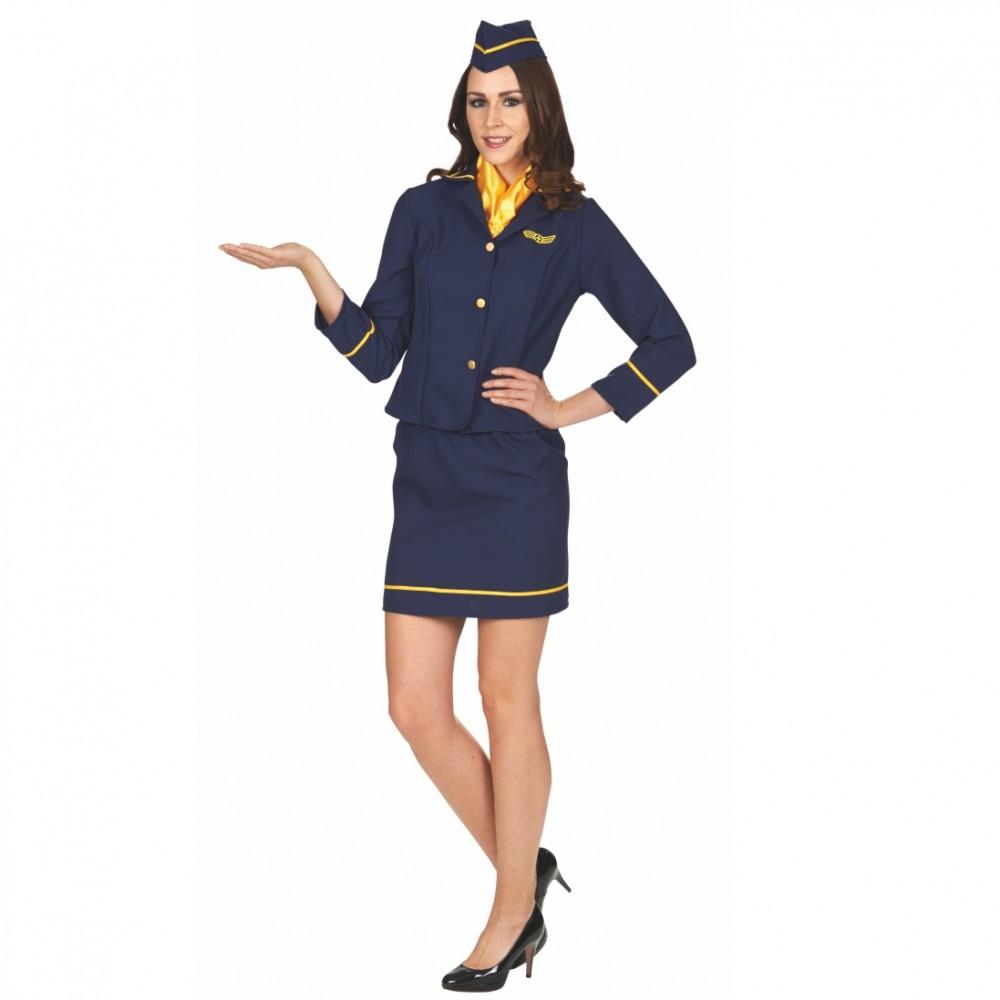 Damenkostüm Stewardess Flugbegleiterin Uniform Kostüm Karneval Fasching Mottoparty