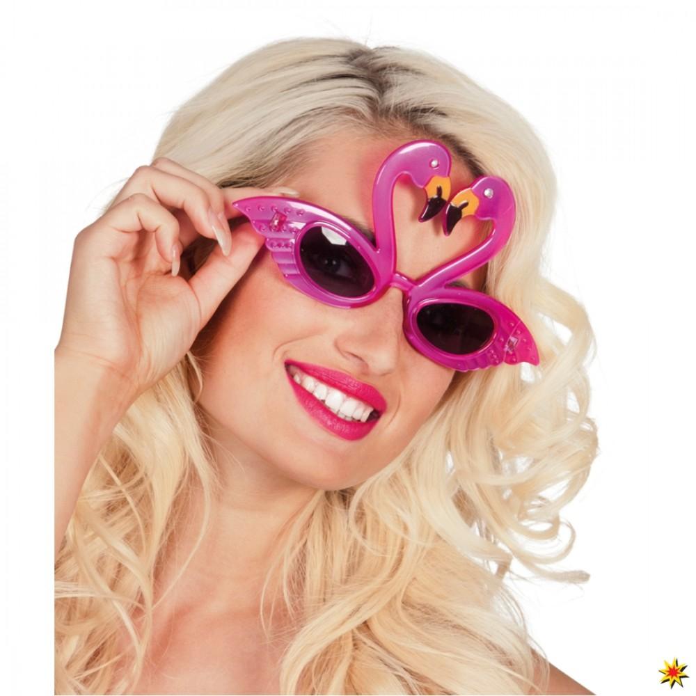 Flamingobrille rosa Brille pink Vogel Flamingo Tier Karneval Fasching