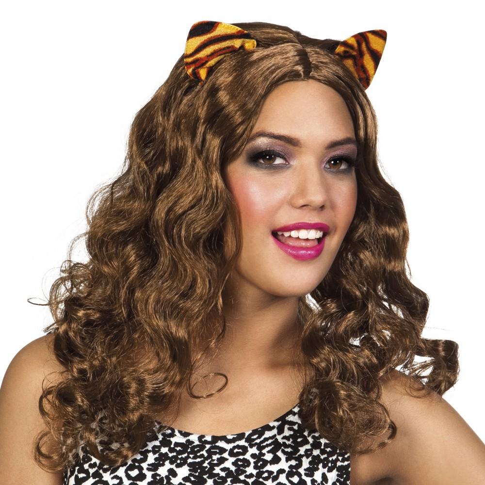 Damen Perücke Tiger Langhaar braun mit Ohren Tigressa Tierkostüm Afrika 2