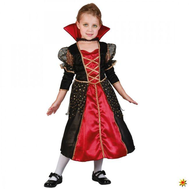 Kinderkostüm Vampir Prinzessin Kleid mit Stehkragen schwarz-rot-gold Halloween