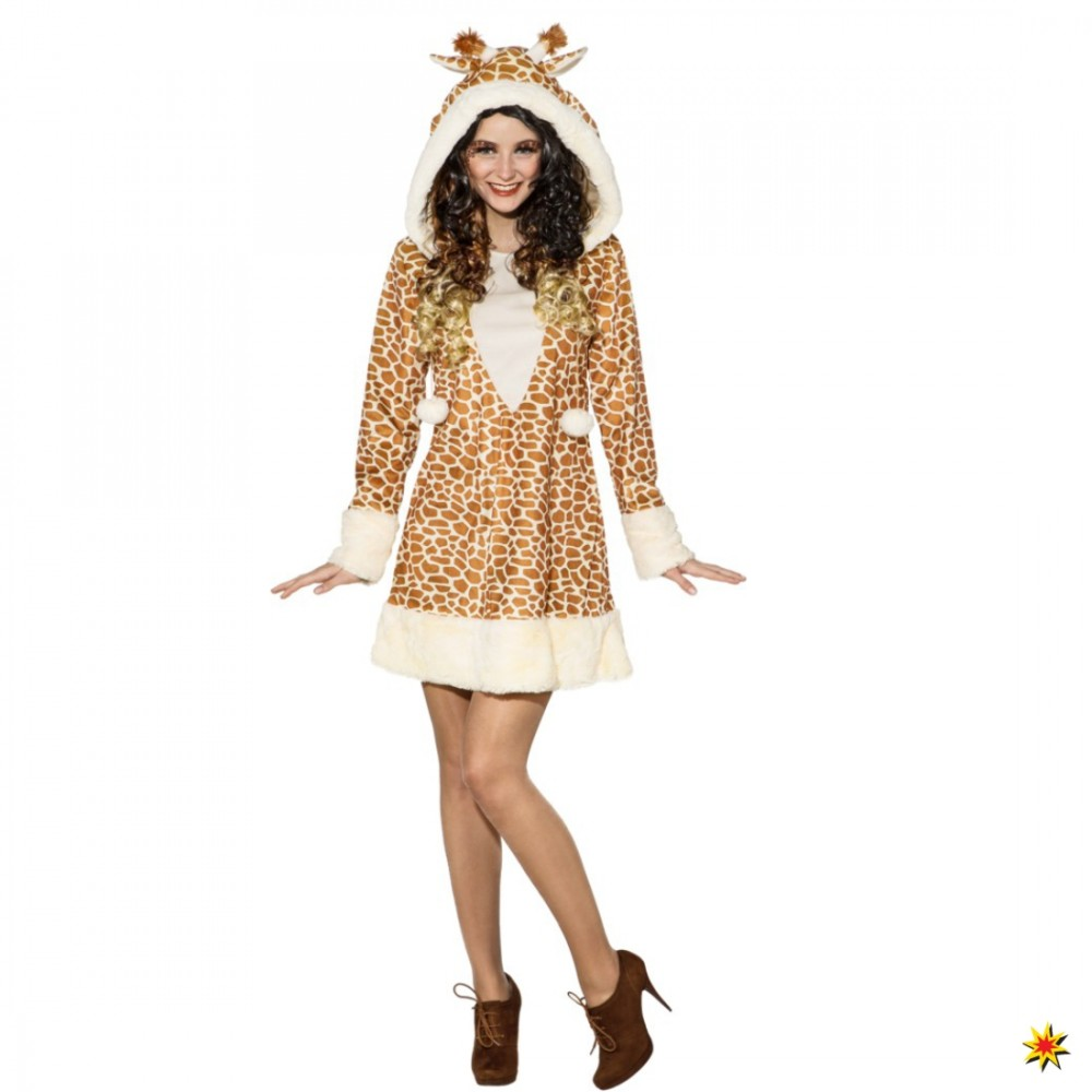 Giraffen Kostüm für Damen Kleid Giraffenmuster Zoo Afrika Tierkostüm