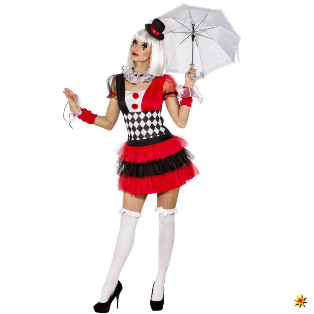 Kostüm Pierrot Damen Kleid Zirkus Künstler Artist Clown Manege Karneval 2