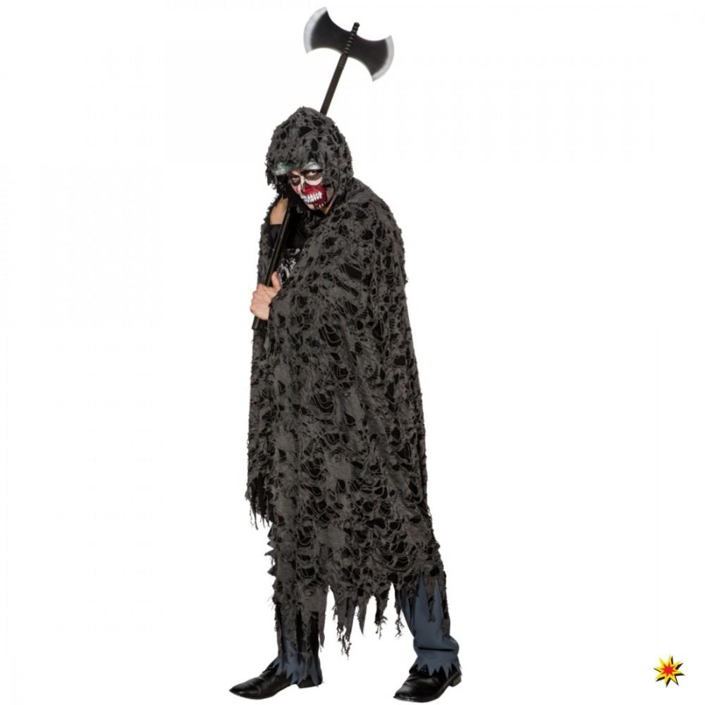 Halloween Fetzenumhang schwarz-grau Einhgr. Umhang mit Kapuze Zombie