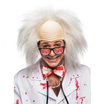 Perücke Professor mit Glatze, weiß