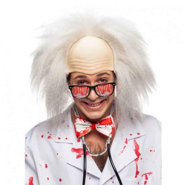 Perücke Professor mit Glatze Fasching weißes Haar Rentner Einstein Karneval 2