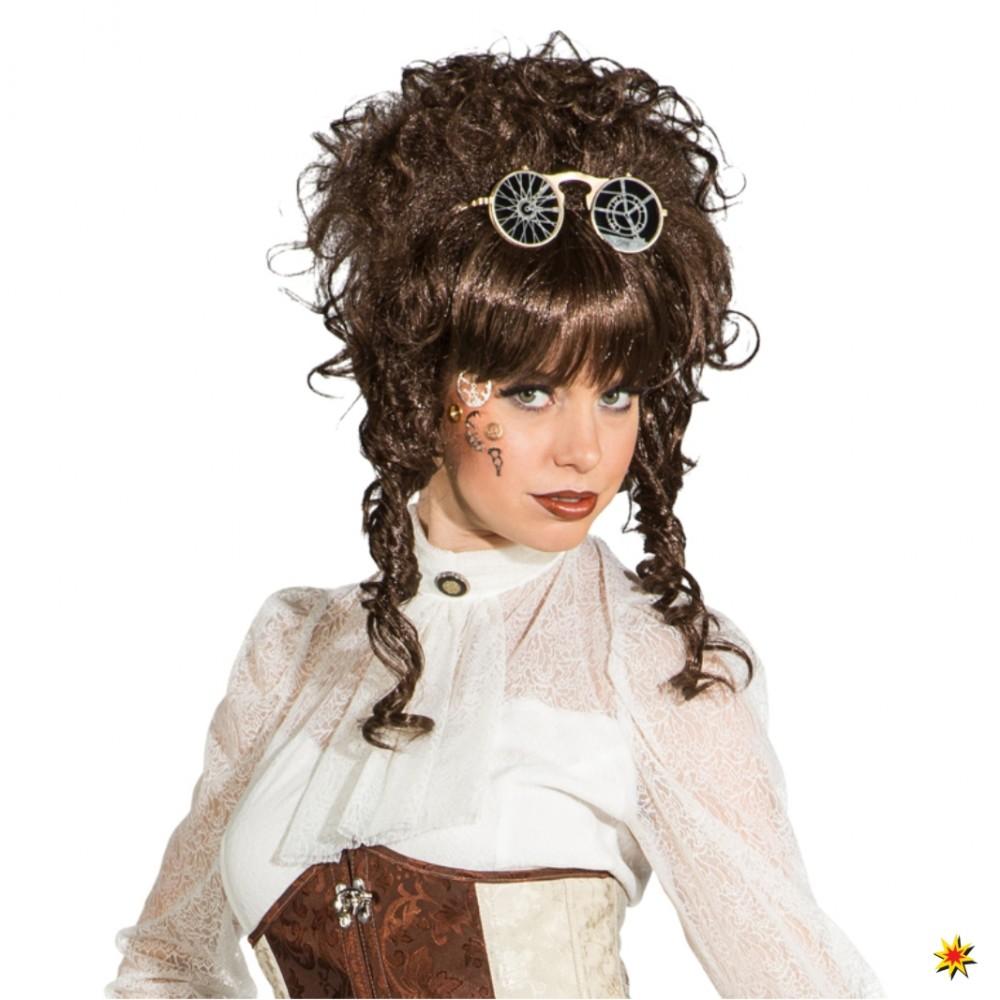 Hochsteckfrisur braun Damen Lockenperücke Karneval Barock Steampunk Victorian 2