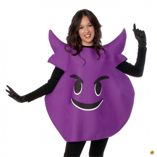 Emoticon Kostüm böses Gesicht lila Einhgr. Smiley Strichmännchen Neue Medien